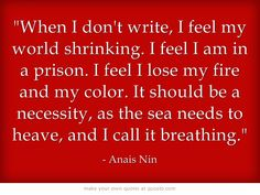 When I don't write, I feel my world shrinking. I feel I am in a prison. I feel I lose my fire and my color. It should be a necessity, as the sea needs to heave, and I call it breathing.