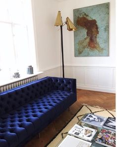 """""""At home with...Pernille Teisbaek in Copenhagen. Her sofa of choice is the Milo Baughman-inspired Ludlow, a custom piece from @las_venus available on…"""""""