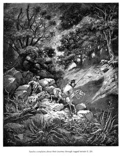 """""""Sancho complains about their journey through rugged terrain."""" (from """"Don Quijote"""") illustration by #GustaveDore"""