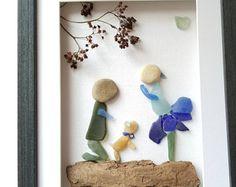Sea glass art engagement, framed sea glass art, unique proposal art, pebble art engagement, rocks art loving couple with dog, beach glass