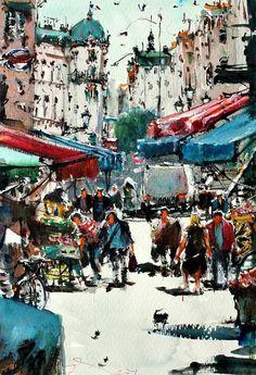 "Saatchi Art Artist maximilian damico; Painting, ""Paris Local Market"" #art"
