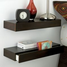 Amazing Tricks Can Change Your Life: Staggered Floating Shelves Lack Shelf floating shelf decor with clock.Floating Shelf White Home Office floating shelf headboard bedroom ideas. Floating Shelves Books, Floating Shelf With Drawer, Rustic Floating Shelves, Drawer Shelves, Storage Drawers, Shelving, Shelf Nightstand, Floating Nightstand, Shelf Headboard