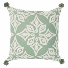 "Artfully handcrafted, this eye-catching pillow features a diamond-inspired medallion motif and pompom details.  Product: PillowConstruction Material: Fabric cover and fiber fillColor: Green and whiteFeatures:  Pom pom detailsInsert includedDimensions: 20"" x 20"""