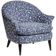 Conli Scrolling Vine Blue and White Armchair -