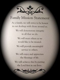 Family Mission Statement: