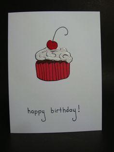 happy birthday cupcake card by JellybeanArtCards on Etsy