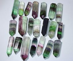 3pcs Natural Purple and Green Fluorite Quartz