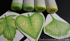 Copic marker leaves
