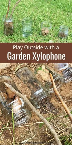Garden Xylophone for Kids Outdoor Activity-CraftCreateCalm Play outside with this fun xylophone made from natural objects and glass jars. Forest School Activities, Outside Activities, Nature Activities, Outdoor Activities For Kids, Music Activities, Spring Activities, Toddler Activities, Childcare Activities, Family Activities