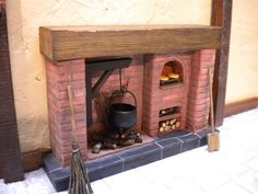 Dolls House Fireplace - Tudor Red Brick with open oven, log store