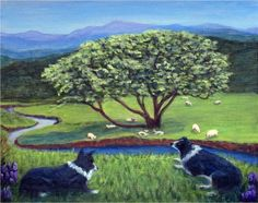 """Green Pastures and Still Waters"" - Two Border Collies, in a serene Scottish landscape, watching the sheep grazing and resting in ""green pastures and beside still waters"" - my painting theme inspired from verses of the 23rd Psalm, an original painting by North Carolina artist, Fran Brooks. www.artistnannie.com"