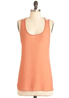 Gotta Terra Cotta Top - Mid-length, Solid, Casual, Tank top (2 thick straps), Orange, Summer