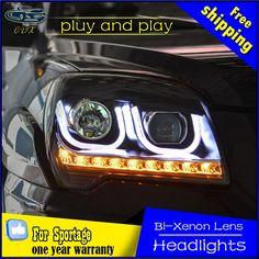 640.71$  Watch here - http://ali62g.worldwells.pw/go.php?t=32786277843 - car styling For KIA Sportage headlights U angel eyes DRL 2007-2013 For KIA Sportage Head lamp LED DRL Q5 bi xenon lens h7 xenon