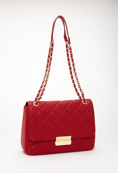 I want this  red purse!!!!!   Quilted Faux Leather Crossbody #Accessories