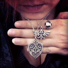 Hylian Crest and Shield necklaces