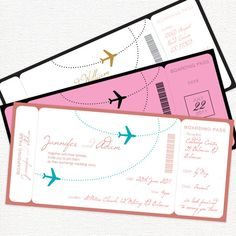 airplane boarding pass invitation  printable file by idoityourself, $30.00   # Pin++ for Pinterest #