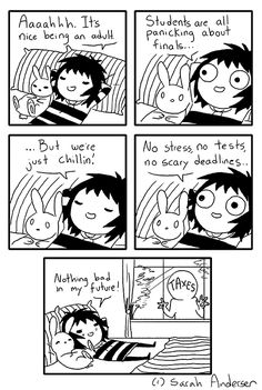 adult vs student life (comic by Sarah Andersen)