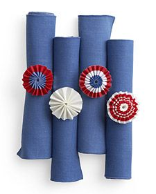 Patriotic Napkin Rings Add a splash of patriotism to Independence Day place settings with our red, white, and blue napkin rings. How to Make Patriotic Napkin Rings Patriotic Crafts, Patriotic Party, 4th Of July Party, Fourth Of July, Happy Birthday America, Blue Crafts, Martha Stewart Crafts, Let Freedom Ring, 4th Of July Decorations
