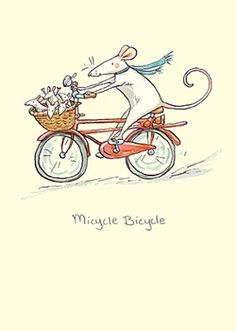 'Micycle Bicycle' card by Anita Jeram for Two Bad Mice