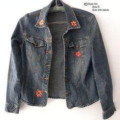 Hand Painted Denim Jacket Denim Jacket Flower Design by Styleon