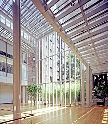 Renzo Piano's design skillfully integrates three existing older buildings with three steel and glass pavilions to create a unique public space in the midst of Manhattan.