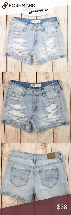 """{A&F} Light Wash Distressed Denim Jean Shorts BRAND: Abercrombie & Fitch ITEM:Light Wash Distressed Denim Jean Shorts FEATURES:Heavy Manufacturer Distressing, Zip Fly FABRIC:100% Cotton SIZE:0 CONDITION:EUC  MEASUREMENTS Waist: 14"""" Inseam: 4"""" Rise: 8""""  PLEASE NOTE: Measurements are approximate and taken while item is laying flat  ALL ITEMS SHIP FROM SMOKE FREE HOME. NO Trades. NO Holds. NO PayPal. NO Lowball Offers. Offer Button Only. Abercrombie & Fitch Shorts Jean Shorts"""
