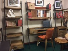 quirky industrial desks and bookcases , ideal for limited space Industrial Desk, Solid Wood Furniture, Solid Pine, Bookcases, Furniture Making, Desks, Shelves, Space, Home Decor