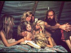 Tent Dwelling Hippie Family of Mystic Arts Commune Bray Family Reading Bedtime Stories  Olson, John