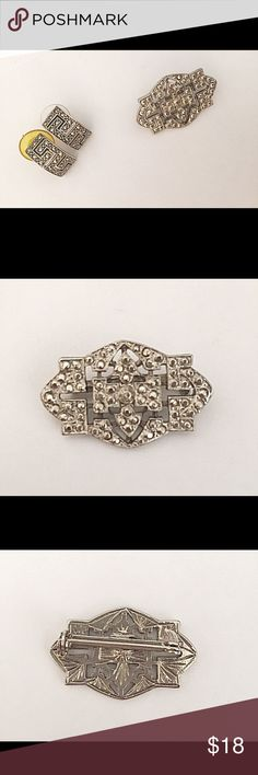 Vintage Deco Look/Faux Marcasite-Look Brooch A gorgeous Vintage Art-Deco look brooch that is a lovely match to the earrings I have listed (seen in pic but not included;separately listed). Textured to look like marcasite, but is all raised silver toned metal. No markings. Unsure of exact age, but definitely post 1960s. Condition: Excellent Vintage condition; pin clasp works perfectly. Vintage Jewelry Brooches