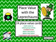 Use this whole group activity, 2 centers, and 4 worksheets to practice and review place value of three digit numbers.  St. Patrick's Day clip art makes it colorful and fun.  Answer keys for everything!  Students will be asked to tell the place of an underlined digit in one center and in the other center they will tell the value of the underlined digit.