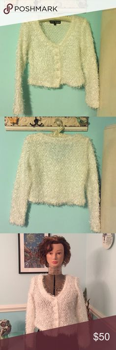 "Shaggy + Shimmery Betsey Johnson Sweater! Stunning pearl-white sweater by Betsey Johnson. Cardigan, so can be worn over a blouse or also like a pull-over! Very warm + not itchy! Worn once.. bought while pregnant.. never looked like it did before twins!😩👶🏼👶🏼 lol. Measures exactly 17"" from back of neck to bottom.. Mint + price firm!                                         45% Poly -- 35% Acrylic-- 15% Wool -- 5% Wool Mohair Betsey Johnson Sweaters Cardigans"