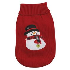 Casual Canine 8-Inch Acrylic Snowman Dog Sweater, XX-Small, Red