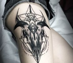 Goat skull tattoo by Otheser Tattoo