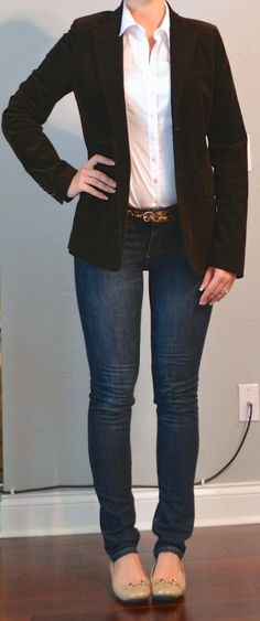 Outfit Posts: skinny jeans, white button down, corduroy jacket outfitposts.blogspot.com