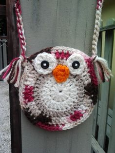 Child's Crochet Owl Purse  Brown & Pink by bkboutique on Etsy, $10.00