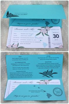 [Hawaiian Boarding Pass Invite] detailed wording and contrast colors of envelope & ticket.