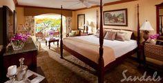 Accommodations at Sandals La Toc    Honeymoon Royal Palm Beachfront Room