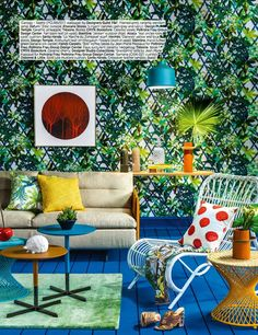 Canopy wallpaper in Saphir creates a luscious outdoor feel in this shoot for AD, India Christian Lacroix, Outdoor Furniture Sets, Outdoor Decor, Designers Guild, Canopy, Wallpaper, Miami, Barcelona, River