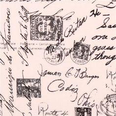 cream script words fabric Timeless Treasures April in Paris 1