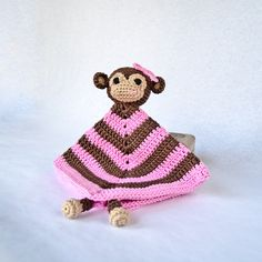 Instant Download - PDF Crochet Pattern - Monkey Security Blanket (Level Easy) - Text instructions and SYMBOL CHART instructions. $3.99, via Etsy.
