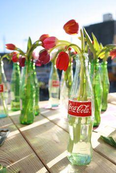 re-purposed bottles.