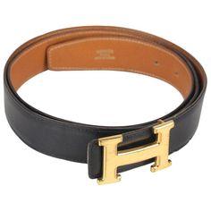 893257a7794 Hermes Vintage Leather Reversible Belt Gold Metal H-Buckle. Black Leather  BeltLeather BeltsHermes Belt WomenReversible BeltBelts For ...