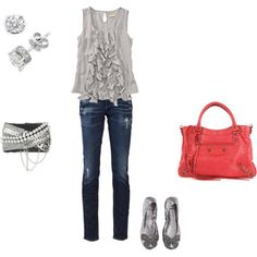 I like the ruffles and the red purse, not the skinny jeans.
