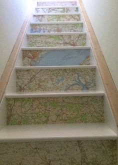 Things you can make with old maps. DIY ideas for old maps. Creative ways to use old maps in crafts and art. Stairs And Staircase, House Stairs, Under Stairs, Staircase Design, Spiral Staircases, Entryway Stairs, Staircase Ideas, Wallpaper Stairs, Map Wallpaper
