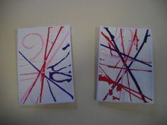 Notre carte a été réalisée avec des fils de laine trempés dans de la peinture…