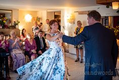 Bride swirls wedding dress on dancefloor during first dance at Covid safe wedding in Dorset. Photograph by one thousand words wedding photography. Wedding Dancing, Wedding First Dance, Wedding Day, Blue Wedding Dresses, Formal Dresses, Corfe Castle, Documentary, Swirls, Floral Prints
