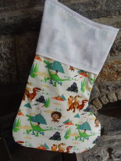 "The Good Dinosaur Mantle Christmas Stocking Cotton w/Flannel Lined Handmade Supersize 21"" x 15"", Arlo, Spot, Butch, Ramsey, Disney Pixar by DesignsByGranGran on Etsy"
