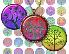 Magic Color Trees - tree of life in rainbow colors - 1 inch circles (25mm) for pendants, magnets and more - downloadable graphics $3.60 on Etsy