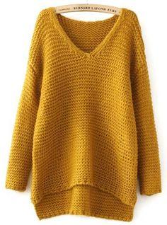 Jersey lanudo cuello pico manga larga-amarillo 25.50