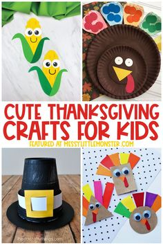 Cute and easy Thanksgiving crafts for kids Thanksgiving Preschool, Easy Fall Crafts, Thanksgiving Crafts For Kids, Fun Crafts, Craft Projects For Kids, Crafts For Kids To Make, Autumn Activities, Craft Activities For Kids, Acorn Crafts